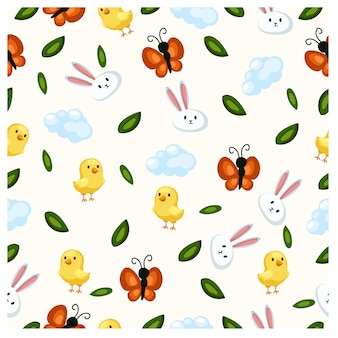 Seamless spring or easter .for cards, tags, textiles, wallpapers, gift wrapping paper.