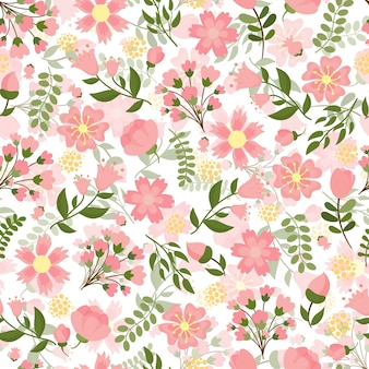 Seamless spring floral with a dense pattern of pretty pink blossom and flowers with green leaves in square format suitable for wallpaper and textile  vector illustration