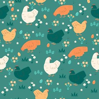 かわいい鶏とのシームレスな春のパターン。