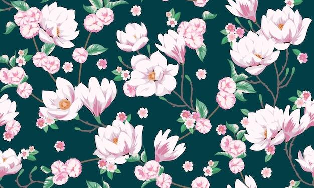 목련과 원활한 봄 패턴입니다. 우아한 여름 드레스를 위한 패브릭 디자인