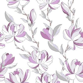 マグノリアとのシームレスな春のパターン。エレガントなサマードレスの生地のデザイン
