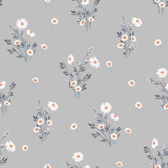 데이지와 원활한 봄 벡터 꽃 패턴