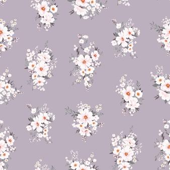흰색 꽃과 원활한 봄 벡터 패턴