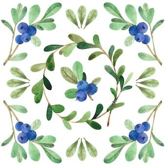 ベリーと葉とのシームレスな正方形の水彩パターン