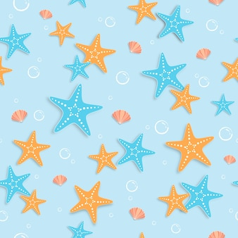 Seamless starfish summer pattern.