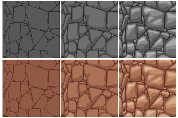 Seamless stone texture, 3 step drawing. brown and gray stones background. cartoon seamless texture.