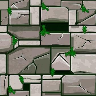 Seamless stone texture on grass, background stone wall tiles.