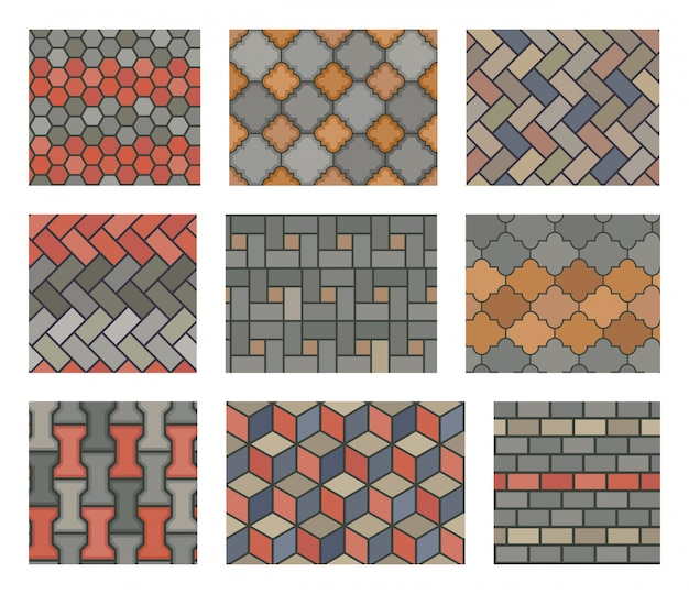 Seamless stone tiles pavement set.