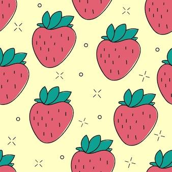 シームレスなイチゴの手描きのベクトルパターン。夏のスタイル