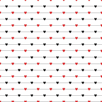 Seamless striped pattern with hearts repeating texture