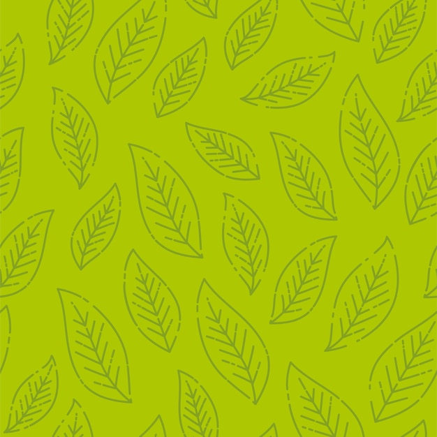 Seamless stylized green leaf pattern.