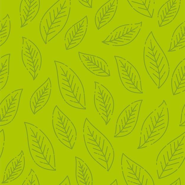 シームレスな様式化された緑の葉のパターン。