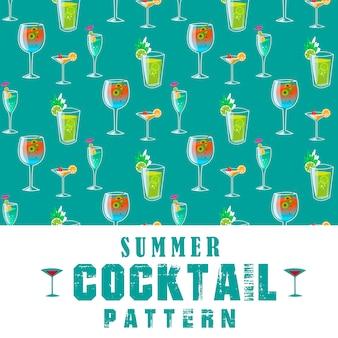 Seamless summer cocktail pattern