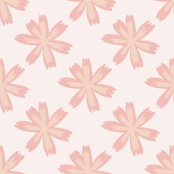 落書きの花ピンクの形でシームレスな夏の植物パターン。
