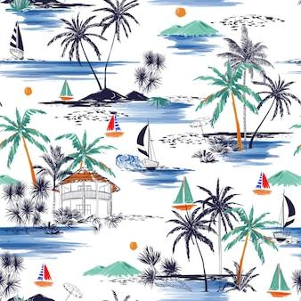Бесшовный летний островной образец