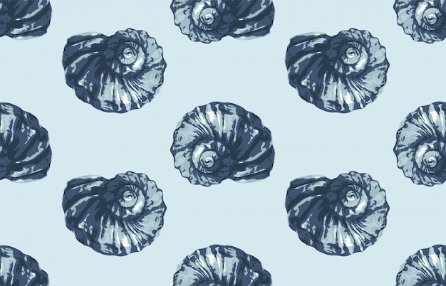 Seamless summer ocean themed seashell pattern for wallpaper or any background design project in blue tint.