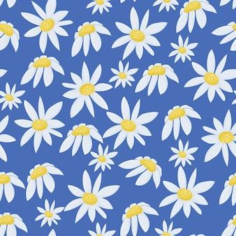シームレスな夏のパターンと白いデイジーフィールドの花