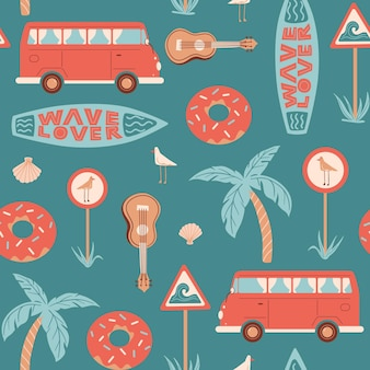 Seamless summer pattern with bus surfboard road sign with seagull ukulele shell and lettering
