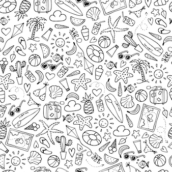 Seamless summer pattern with doodles
