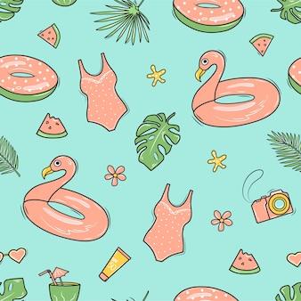 フラミンゴ、サーフボード、ヤシの葉、ビーチバッグ、カメラを備えたシームレスな夏のパターン。落書きスタイルの背景。