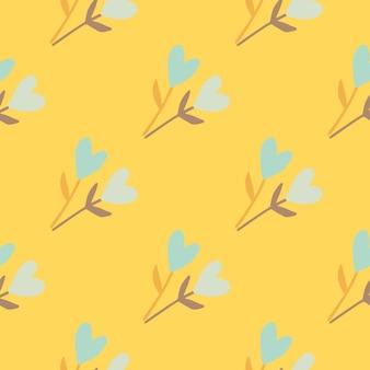 植物相の心でシームレスな夏のパターンは、形状を小枝します。黄色の明るい背景。素朴な様式化されたデザイン。