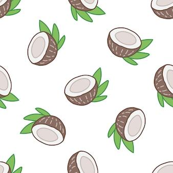 Бесшовный летний образец с фруктами кокоса