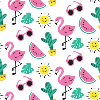 Seamless summer pattern with hand drawn elements
