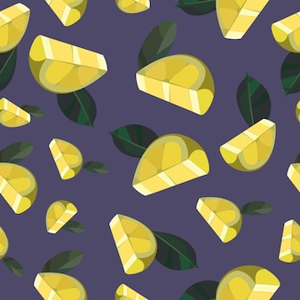 Seamless summer pattern with lemons and leaves yellow background with lemons fresh lemons