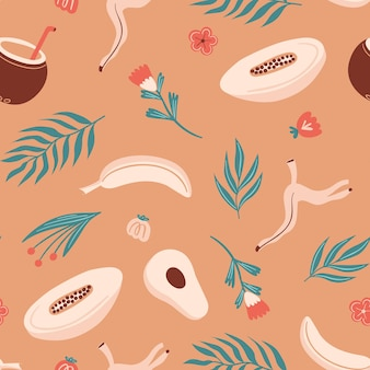 Seamless summer pattern with melon  fern banana coconut cocktail avocado plants and flowers