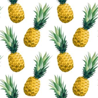 パイナップルとのシームレスな夏のパターン。