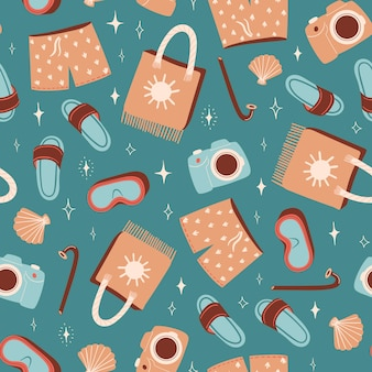 Seamless summer pattern with slippers or flip flops swimming shorts and beach bag