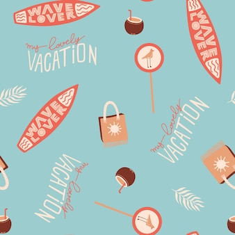 Seamless summer pattern with surfboard beach bag coconut cocktail road sign and lettering