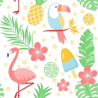 열 대 조류와 식물 원활한 여름 패턴입니다.
