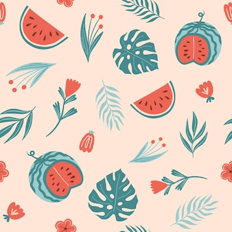 Seamless summer pattern with watermelon monstera  leaf fern plants and flowers