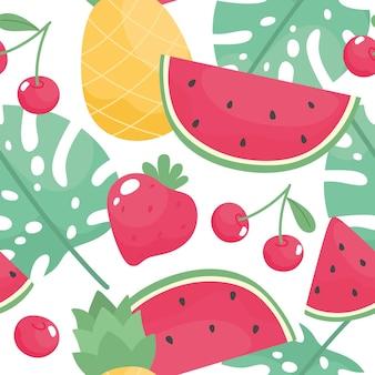 수박 딸기와 체리 파인애플, 열대 잎이 있는 매끄러운 여름 패턴
