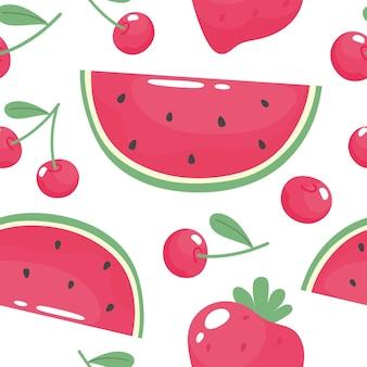 Seamless summer pattern with watermelon strawberry sweet cherry hand drawn.