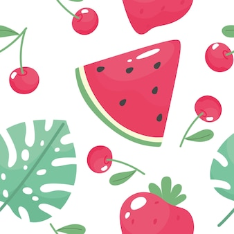 Seamless summer pattern with watermelon strawberry sweet cherry and tropical leaf