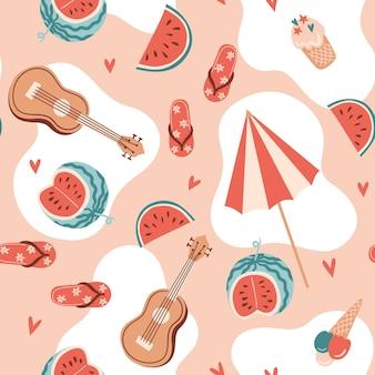 수박 우쿨렐레 아이스크림 우산과 하트가 있는 매끄러운 여름 패턴