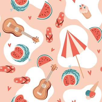 Seamless summer pattern with watermelon ukulele ice cream umbrella and hearts