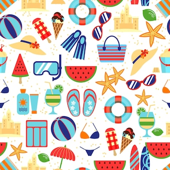 Seamless summer travel pattern and vacation summer time.