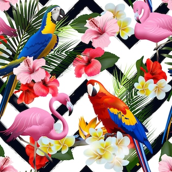 Бесшовные летний тропический фон с тропическими цветами и красочными попугаями, с розовыми фламинго векторные иллюстрации.