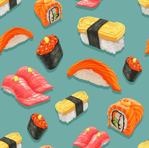 Seamless of sushi and japanese food pattern.