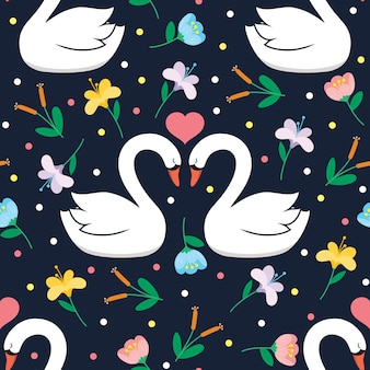 Seamless swan and flower vector pattern