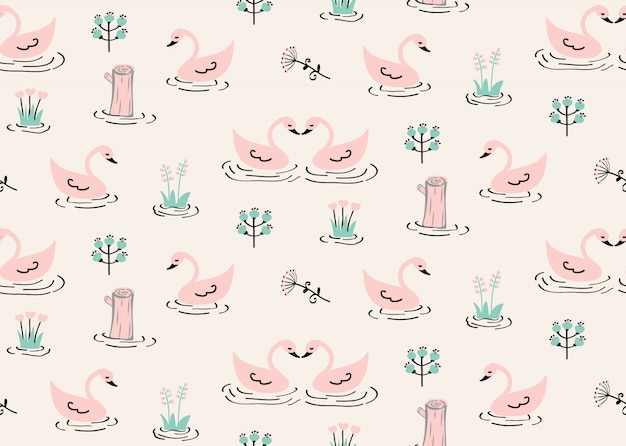 Seamless swan pattern with stump and wild flowers in canal.