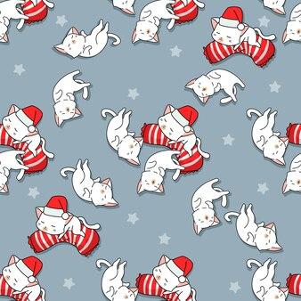 Seamless sweet dream cats pattern