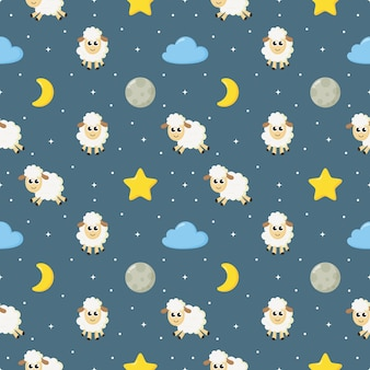 Seamless sweet dreams sheep funny animal pattern on blue background for fabric