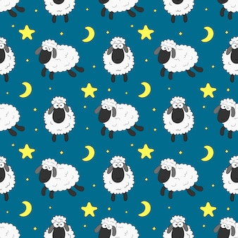 Seamless sweet dreams sheep funny animal pattern for fabric, textile, paper, wallpaper, wrapping