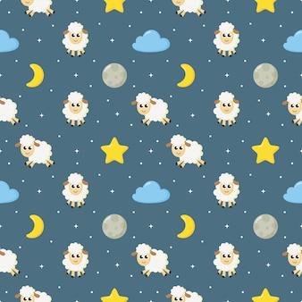 원활한 달콤한 꿈 양 직물에 대 한 파란색 배경에 재미있는 동물 패턴