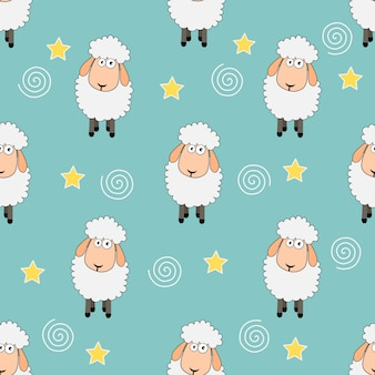 Seamless sweet dreams sheep funny animal pattern