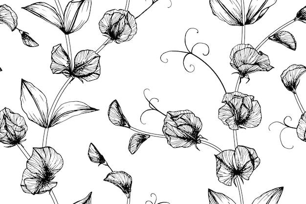 シームレスなスイートピースの花のパターンの背景。
